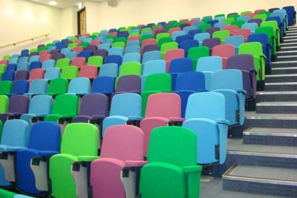 Multi-coloured lecture theatre seats