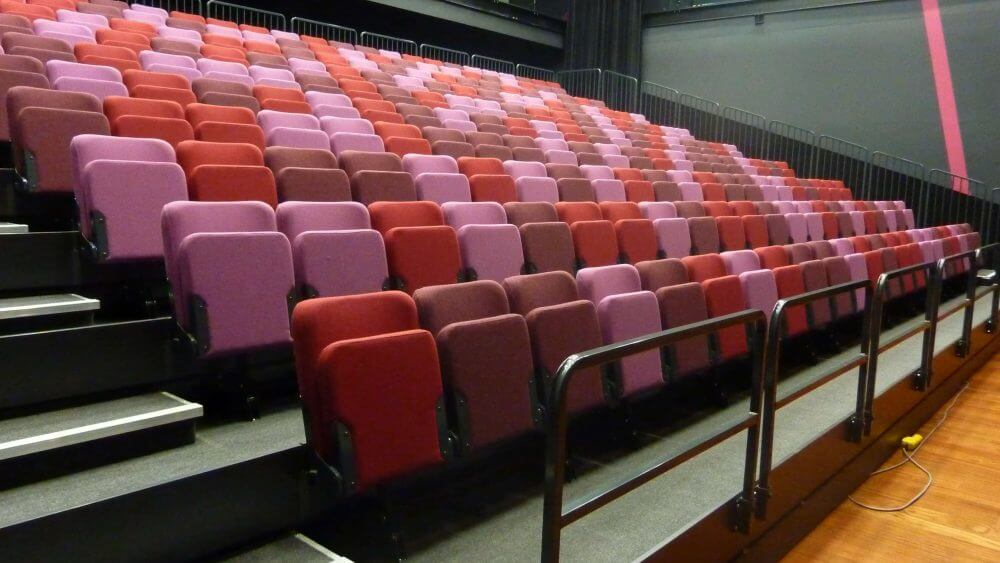 Multi-coloured, retractable seating
