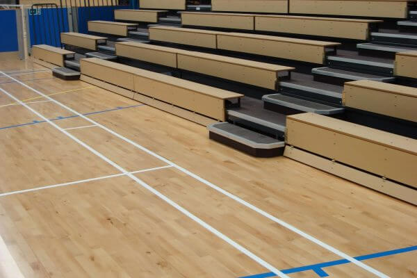 wooden bench seating, retractable seating