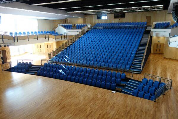 Wide view of Theatre and retractable seating unit