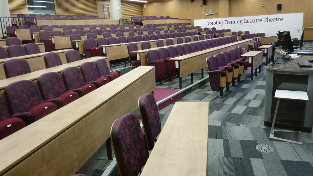 Sheffield Hallam University purple and red seating