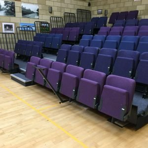 Blue and purple seating on a retractable unit