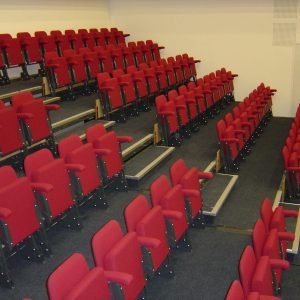 Red upholstered chair, Retractable seating