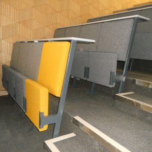 Lecture hall seating, Grey and yellow chairs