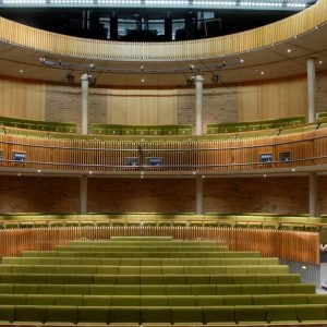 auditoria seating, three levels of green chairs, theatre seating