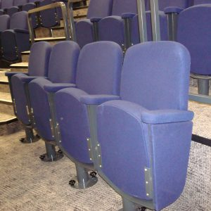 Fixed lecture theatre seating, Purple chairs