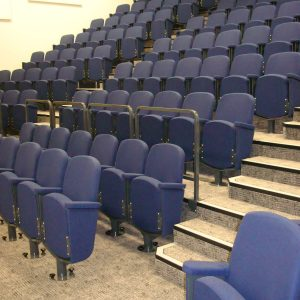 Lecture theatre seating, purple chairs