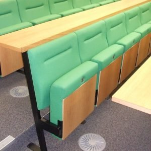 Side view green lecture theatre chairs