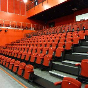 Retractable seating unit red lecture theatre chairs
