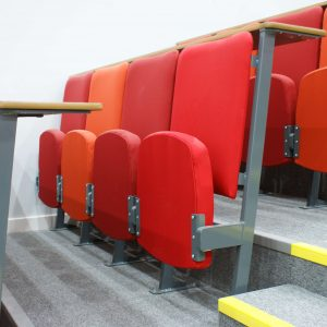 Side view lecture theatre chairs shades of red