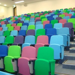Multi-coloured lecture theatre seats