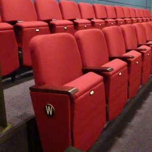 Side view, red theatre seats
