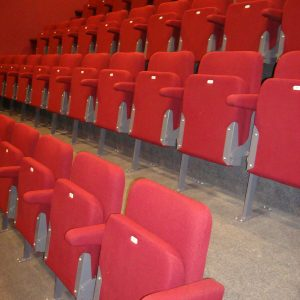 Red lecture theatre chairs