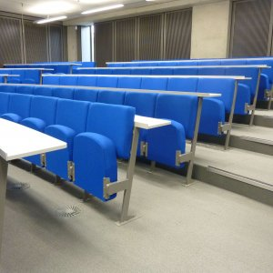 University seating folding blue chairs with desks
