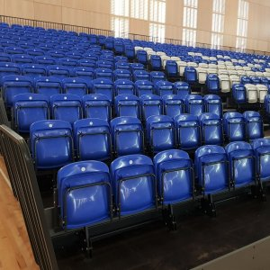 blue folding assembly hall seats
