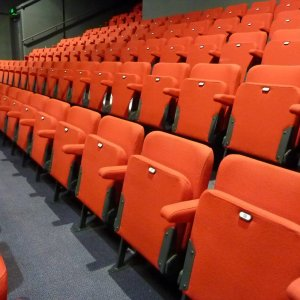 upholstered red cinema style seating with fold down seats