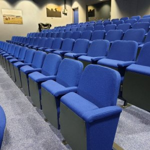 blue cinema style seating tiered