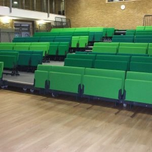 Tip up bench, green seats