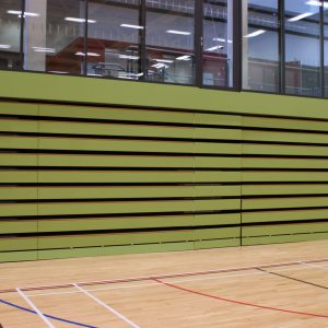 timber bench seating, green fronts, closed retractable seating
