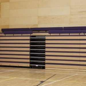 Closed retractable unit, purple bench seating