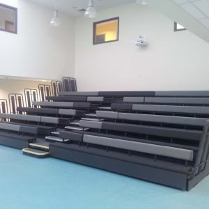 Upholstered bench seating, black and grey benches