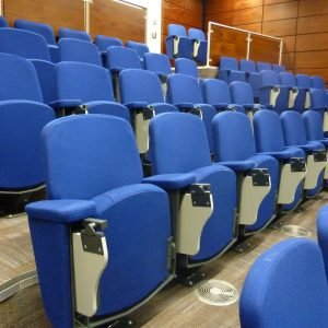 Lecture theatre chairs, Blue seats, folding writing desks