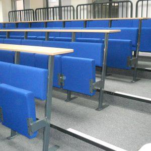 Blue short-back chair, wood writing desks