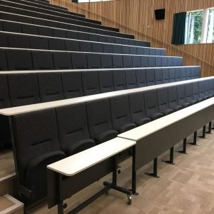 Rows of high backed, black lecture theatre chairs with attached writing desk