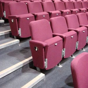 Side view of purple theatre seats