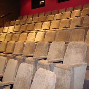 Grey velour theatre seats