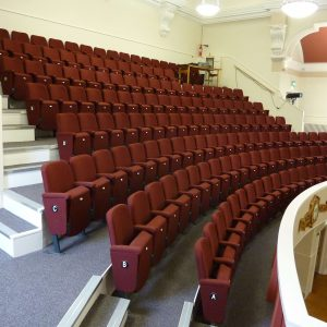 Balcony with maroon theatre seating