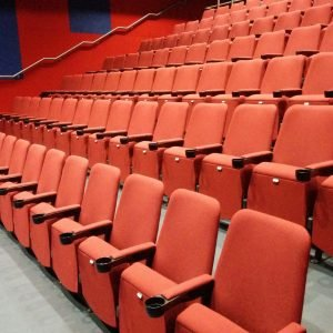Row of red cinema seating